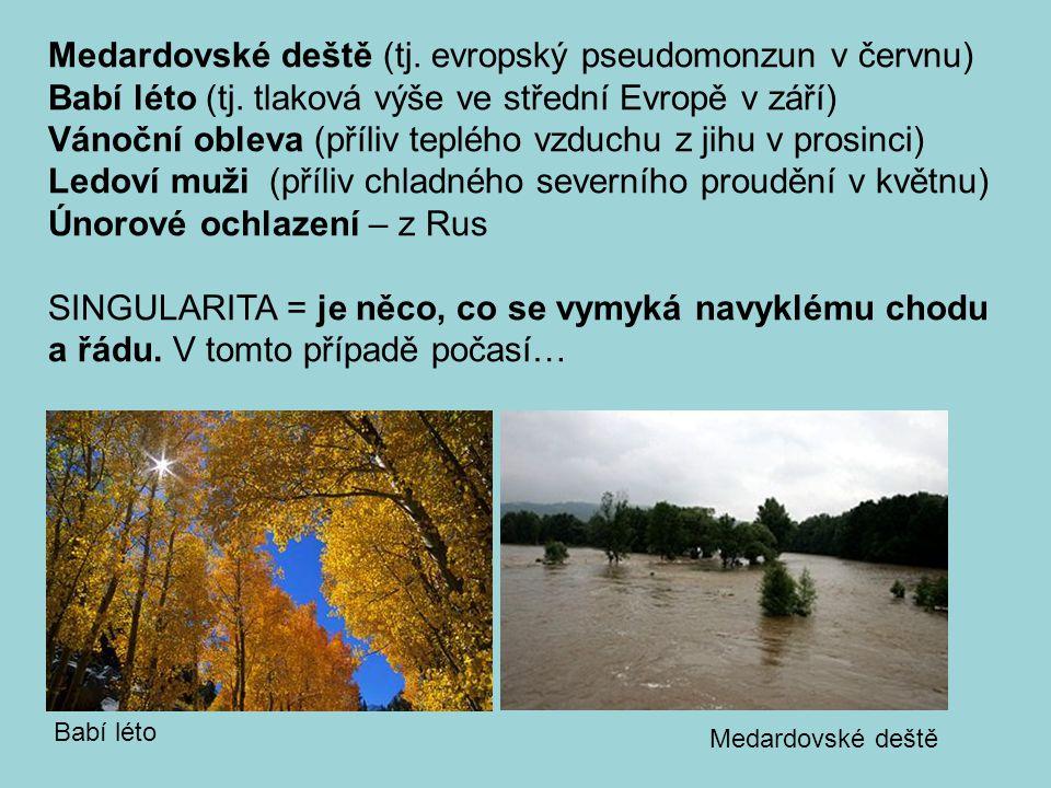 Medardovské deště (tj. evropský pseudomonzun v červnu) Babí léto (tj. tlaková výše ve střední Evropě v září) Vánoční obleva (příliv teplého vzduchu z
