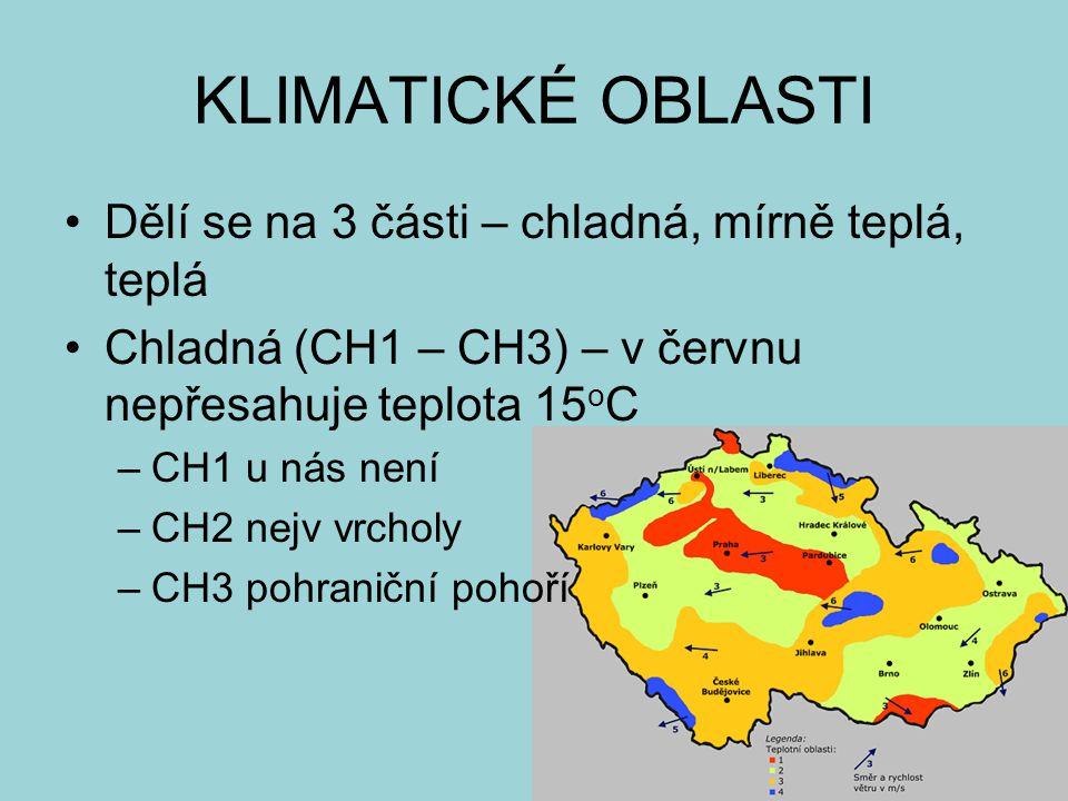KLIMATICKÉ OBLASTI Dělí se na 3 části – chladná, mírně teplá, teplá Chladná (CH1 – CH3) – v červnu nepřesahuje teplota 15 o C –CH1 u nás není –CH2 nej