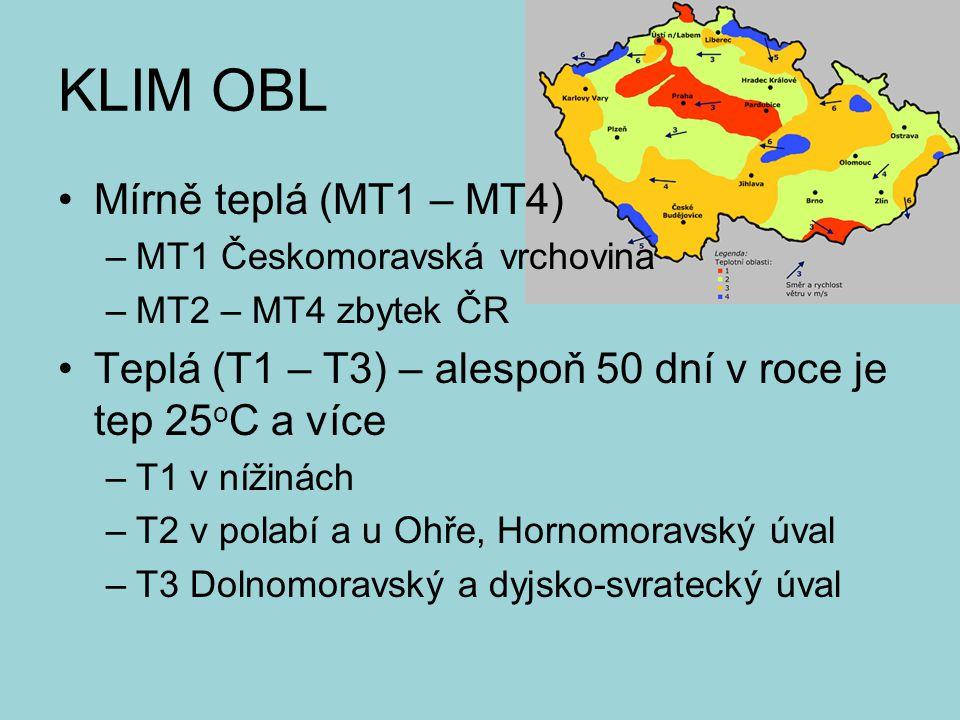KLIM OBL Mírně teplá (MT1 – MT4) –MT1 Českomoravská vrchovina –MT2 – MT4 zbytek ČR Teplá (T1 – T3) – alespoň 50 dní v roce je tep 25 o C a více –T1 v