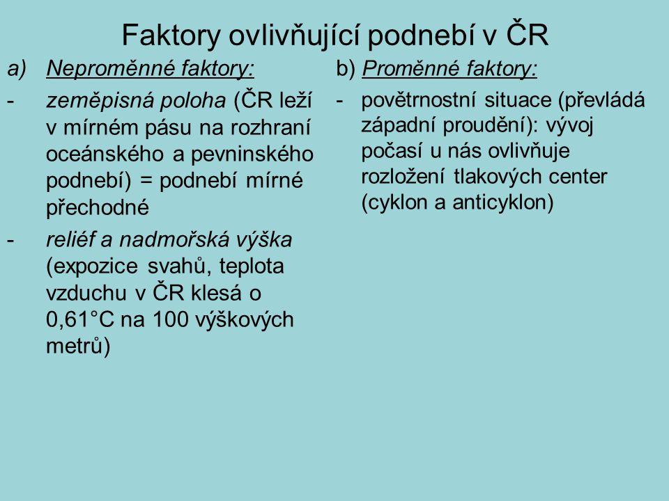 Faktory ovlivňující podnebí v ČR a)Neproměnné faktory: - zeměpisná poloha (ČR leží v mírném pásu na rozhraní oceánského a pevninského podnebí) = podne