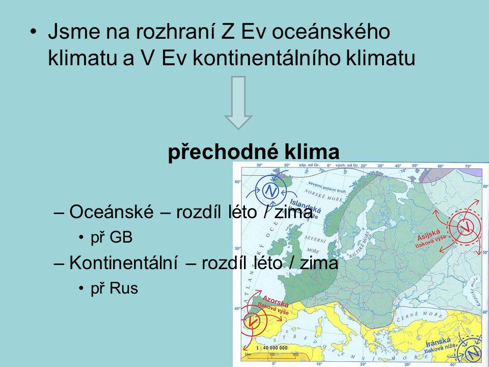 Jsme na rozhraní Z Ev oceánského klimatu a V Ev kontinentálního klimatu přechodné klima –Oceánské – rozdíl léto / zima př GB –Kontinentální – rozdíl l