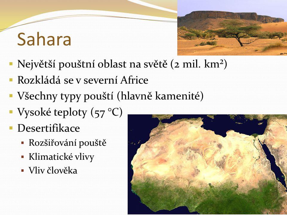 Sahara  Největší pouštní oblast na světě (2 mil.