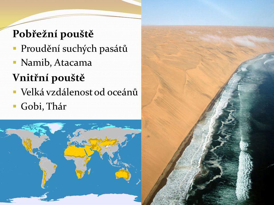 Pobřežní pouště  Proudění suchých pasátů  Namib, Atacama Vnitřní pouště  Velká vzdálenost od oceánů  Gobi, Thár