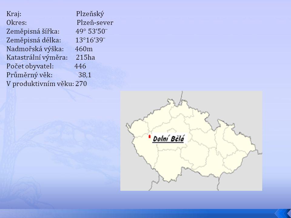 Kraj: Plzeňský Okres: Plzeň-sever Zeměpisná šířka: 49° 53'50¨ Zeměpisná délka: 13°16'39¨ Nadmořská výška: 460m Katastrální výměra: 215ha Počet obyvate