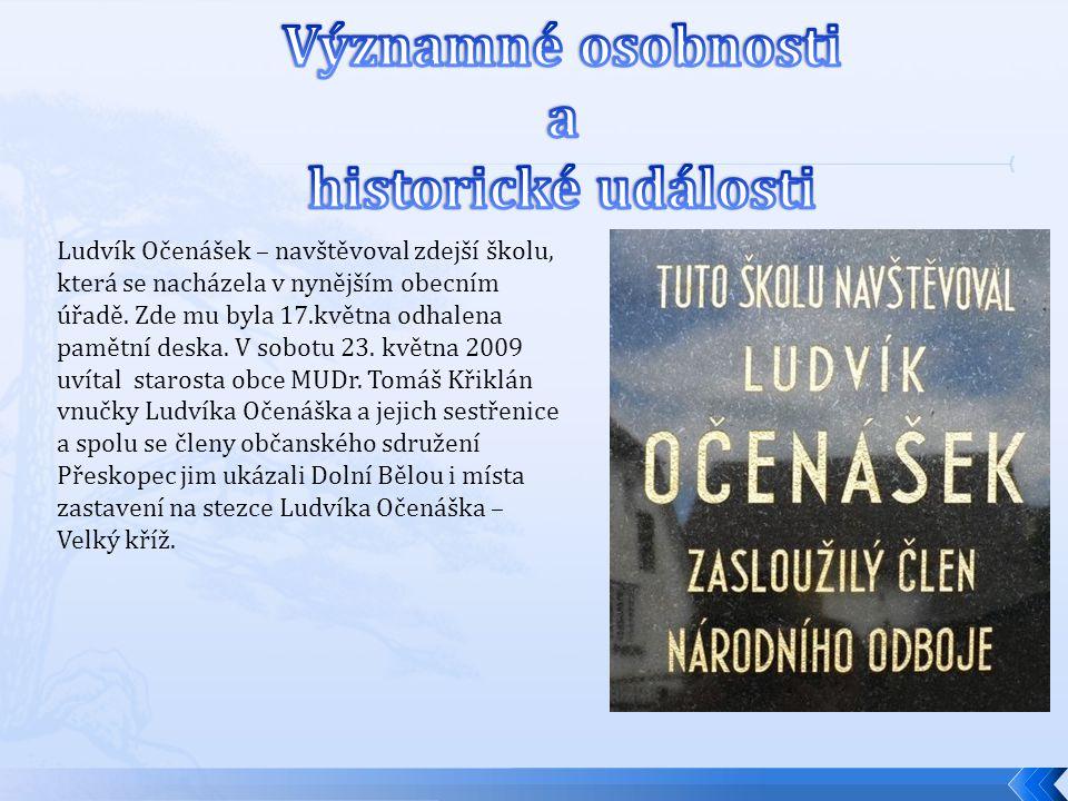 Ludvík Očenášek – navštěvoval zdejší školu, která se nacházela v nynějším obecním úřadě. Zde mu byla 17.května odhalena pamětní deska. V sobotu 23. kv