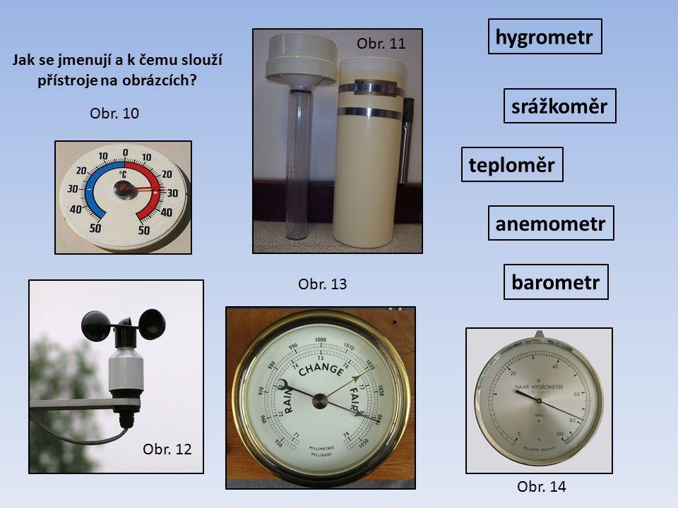teploměr srážkoměr barometr anemometr hygrometr Jak se jmenují a k čemu slouží přístroje na obrázcích? Obr. 10 Obr. 13 Obr. 12 Obr. 11 Obr. 14