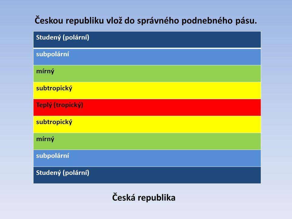 Studený (polární) subpolární mírný subtropický Teplý (tropický) subtropický mírný subpolární Studený (polární) Českou republiku vlož do správného podn