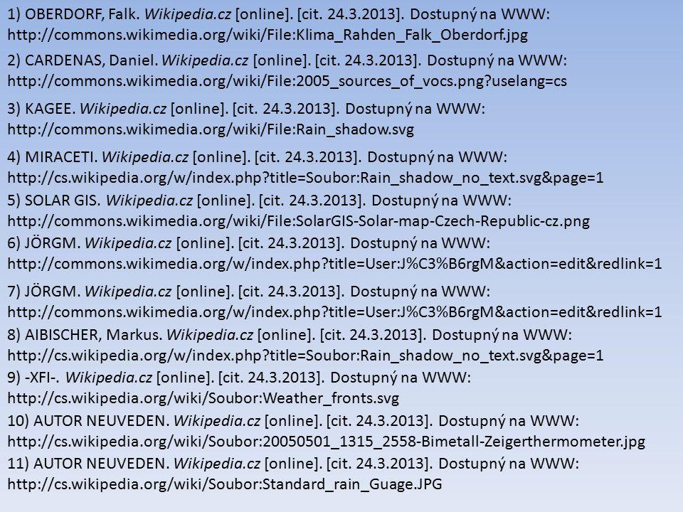 1) OBERDORF, Falk. Wikipedia.cz [online]. [cit. 24.3.2013]. Dostupný na WWW: http://commons.wikimedia.org/wiki/File:Klima_Rahden_Falk_Oberdorf.jpg 2)
