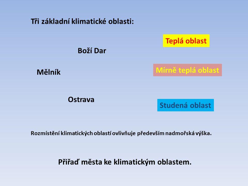 Tři základní klimatické oblasti: Rozmístění klimatických oblastí ovlivňuje především nadmořská výška. Teplá oblast Mírně teplá oblast Studená oblast M