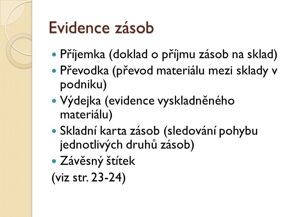 Evidence zásob Příjemka (doklad o příjmu zásob na sklad) Převodka (převod materiálu mezi sklady v podniku) Výdejka (evidence vyskladněného materiálu) Skladní karta zásob (sledování pohybu jednotlivých druhů zásob) Závěsný štítek (viz str.