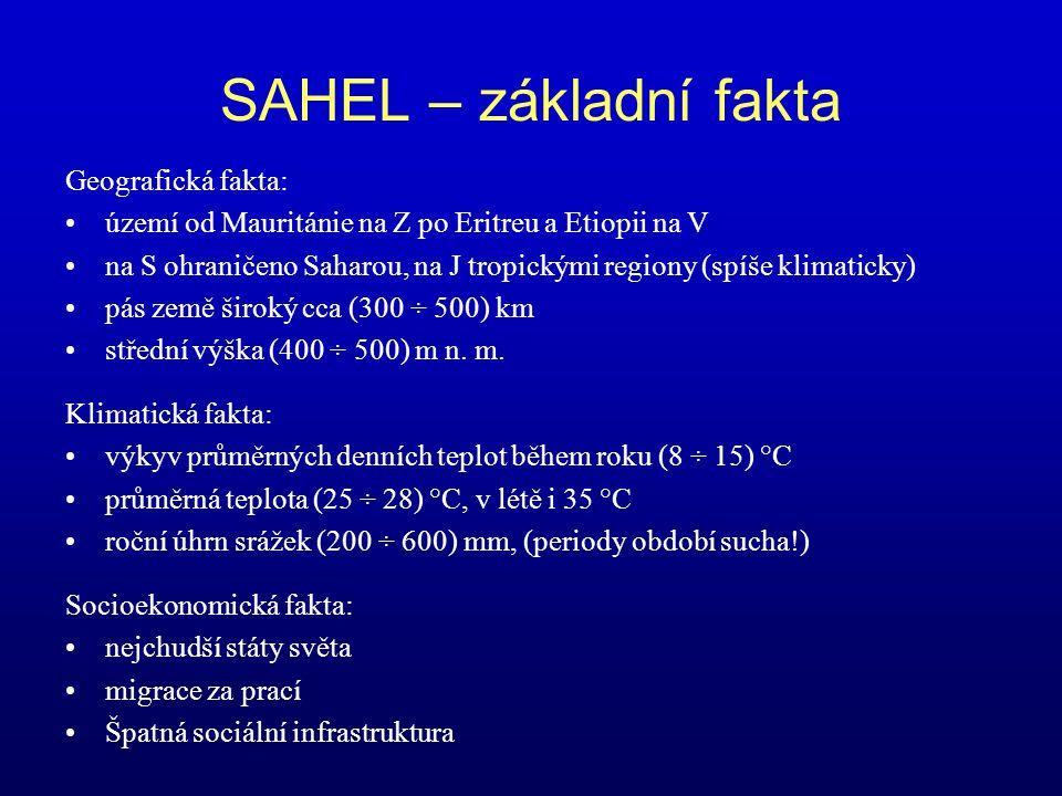 SAHEL – základní fakta Geografická fakta: území od Mauritánie na Z po Eritreu a Etiopii na V na S ohraničeno Saharou, na J tropickými regiony (spíše k