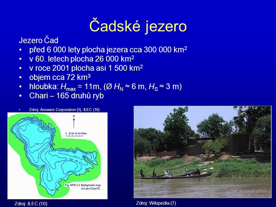 Čadské jezero Jezero Čad před 6 000 lety plocha jezera cca 300 000 km 2 v 60. letech plocha 26 000 km 2 v roce 2001 plocha asi 1 500 km 2 objem cca 72