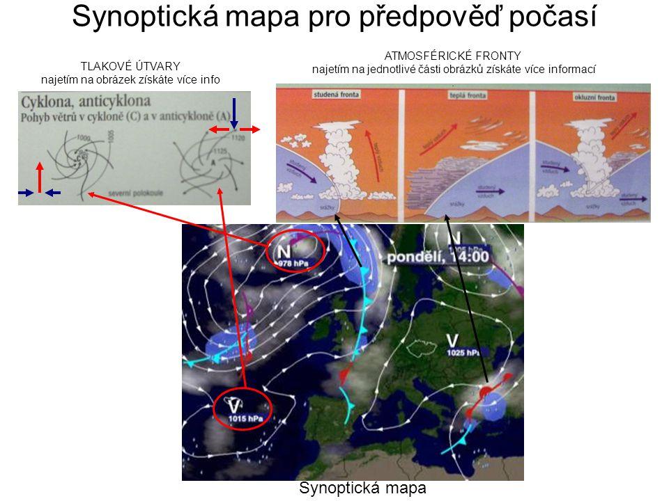 Faktory ovlivňující podnebí v ČR a)Neproměnné faktory: - zeměpisná poloha (ČR leží v mírném pásu na rozhraní oceánského a pevninského podnebí) = podnebí mírné přechodné - reliéf a nadmořská výška (expozice svahů, teplota vzduchu v ČR klesá o 0,61°C na 100 výškových metrů) b) Proměnné faktory: - povětrnostní situace (převládá západní proudění): vývoj počasí u nás ovlivňuje rozložení tlakových center (cyklon a anticyklon)cyklon Při najetí na vzduchové hmoty získáte více informací.