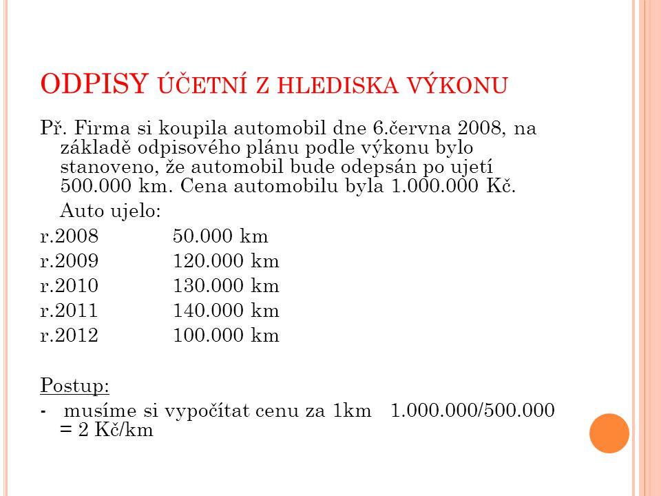ODPISY ÚČETNÍ Z HLEDISKA VÝKONU Př.