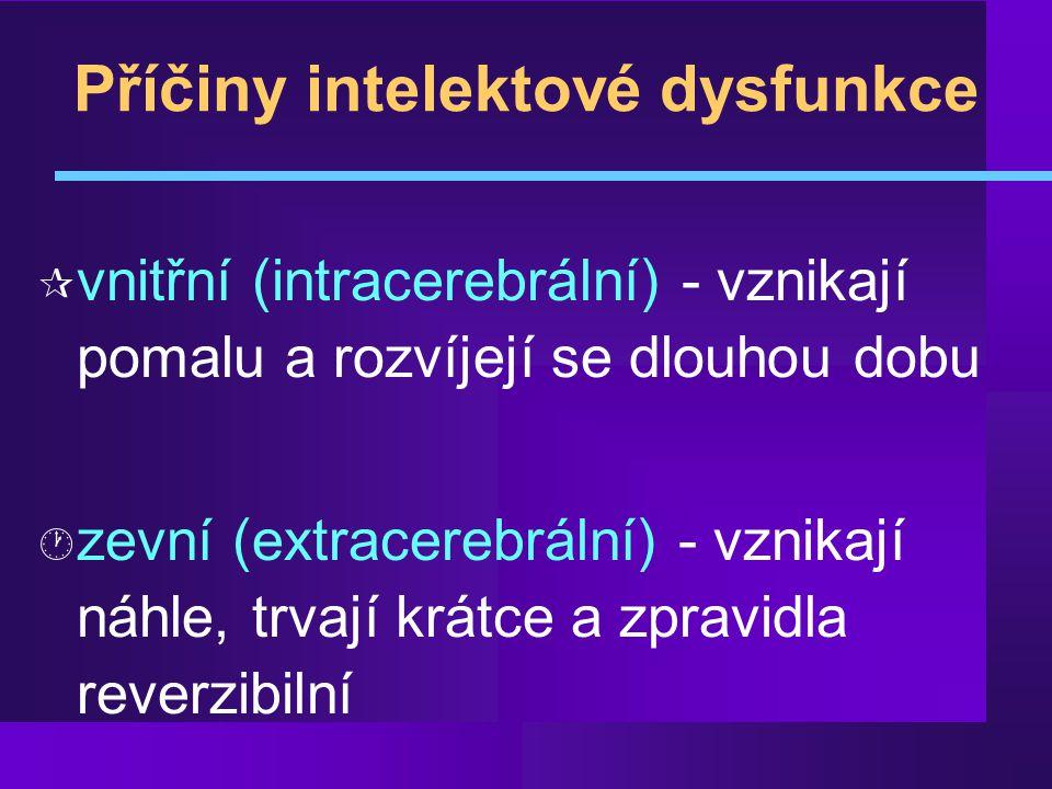 Příčiny mozkové dysfunkce vnitřní příčiny zevní příčiny vaskulární nevaskulární toxické metabolické Multiinfarktová Alzheimer endokrinní Binswangerova n.