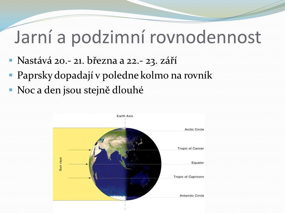 Jarní a podzimní rovnodennost  Nastává 20.- 21. března a 22.- 23. září  Paprsky dopadají v poledne kolmo na rovník  Noc a den jsou stejně dlouhé