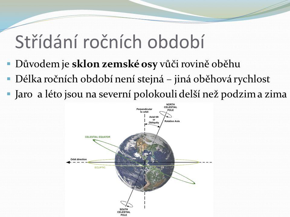 Střídání ročních období  Důvodem je sklon zemské osy vůči rovině oběhu  Délka ročních období není stejná – jiná oběhová rychlost  Jaro a léto jsou