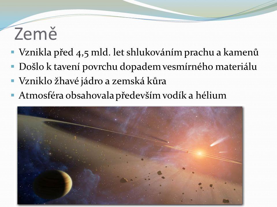 Země  Vznikla před 4,5 mld. let shlukováním prachu a kamenů  Došlo k tavení povrchu dopadem vesmírného materiálu  Vzniklo žhavé jádro a zemská kůra