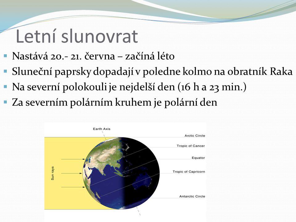 Letní slunovrat  Nastává 20.- 21. června – začíná léto  Sluneční paprsky dopadají v poledne kolmo na obratník Raka  Na severní polokouli je nejdelš