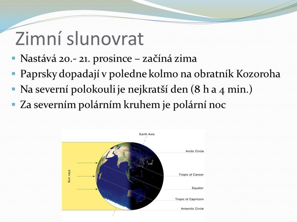 Zimní slunovrat  Nastává 20.- 21. prosince – začíná zima  Paprsky dopadají v poledne kolmo na obratník Kozoroha  Na severní polokouli je nejkratší