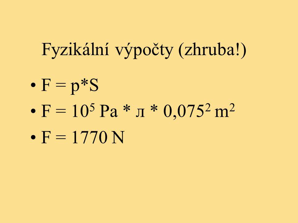 Fyzikální výpočty (zhruba!) F = p*S F = 10 5 Pa * л * 0,075 2 m 2 F = 1770 N