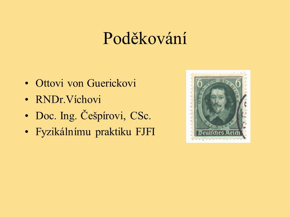 Poděkování Ottovi von Guerickovi RNDr.Víchovi Doc. Ing. Češpírovi, CSc. Fyzikálnímu praktiku FJFI