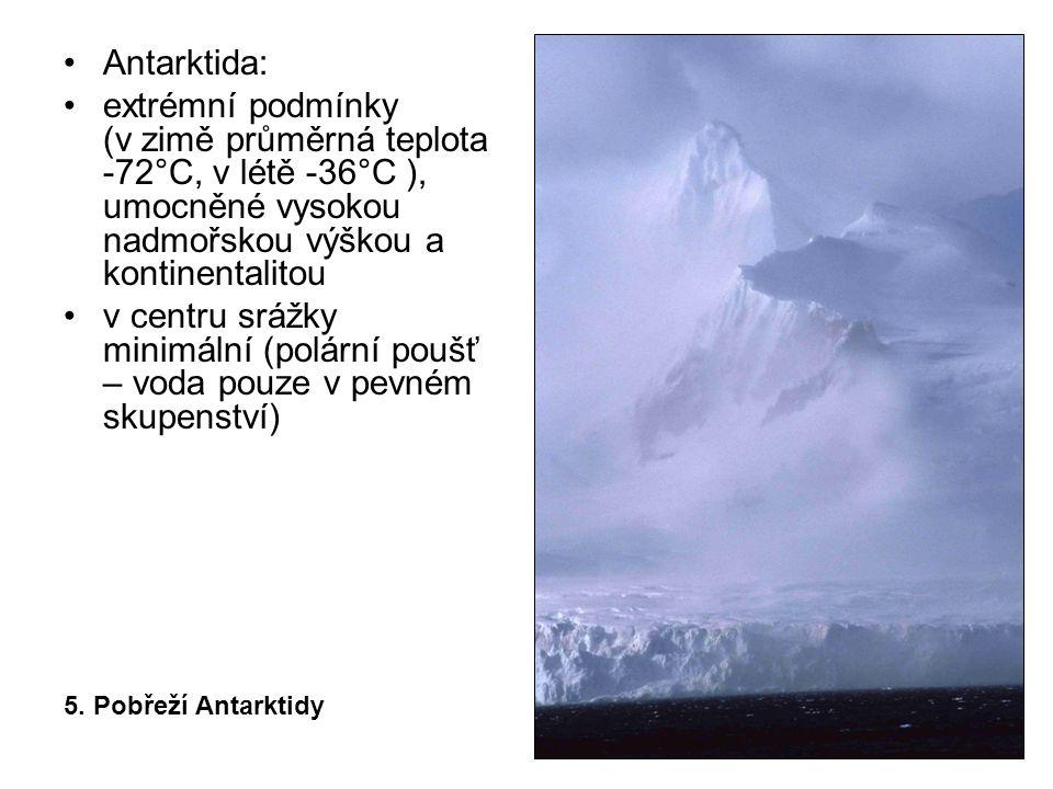 Antarktida: extrémní podmínky (v zimě průměrná teplota -72°C, v létě -36°C ), umocněné vysokou nadmořskou výškou a kontinentalitou v centru srážky minimální (polární poušť – voda pouze v pevném skupenství) 5.