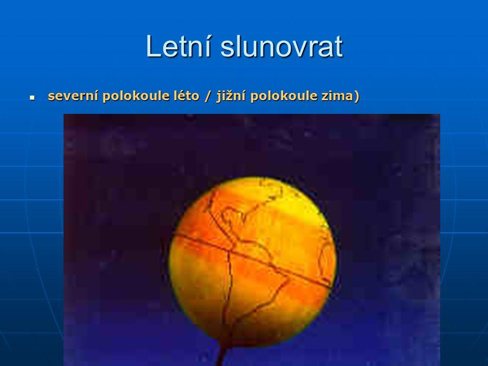 Letní slunovrat severní polokoule léto / jižní polokoule zima) severní polokoule léto / jižní polokoule zima)