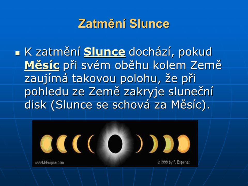 Zatmění Slunce K zatmění Slunce dochází, pokud Měsíc při svém oběhu kolem Země zaujímá takovou polohu, že při pohledu ze Země zakryje sluneční disk (Slunce se schová za Měsíc).