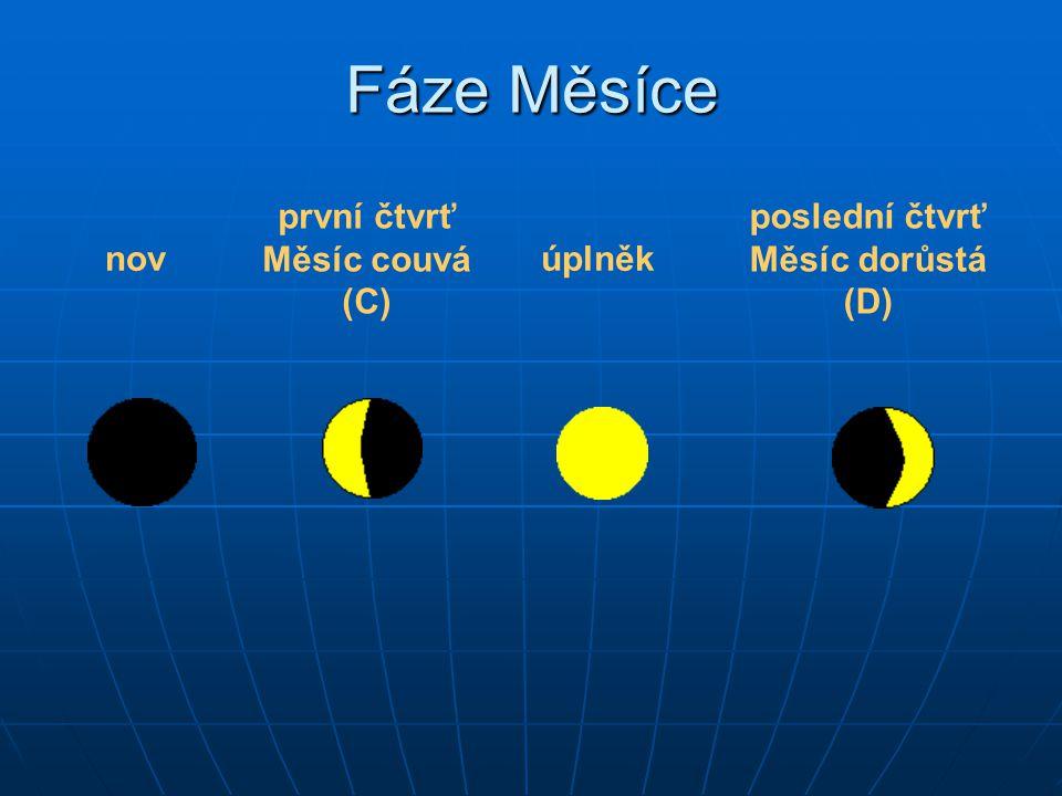 nov první čtvrť Měsíc couvá (C) úplněk poslední čtvrť Měsíc dorůstá (D) Fáze Měsíce