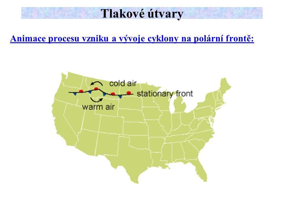 Animace procesu vzniku a vývoje cyklony na polární frontě: Tlakové útvary