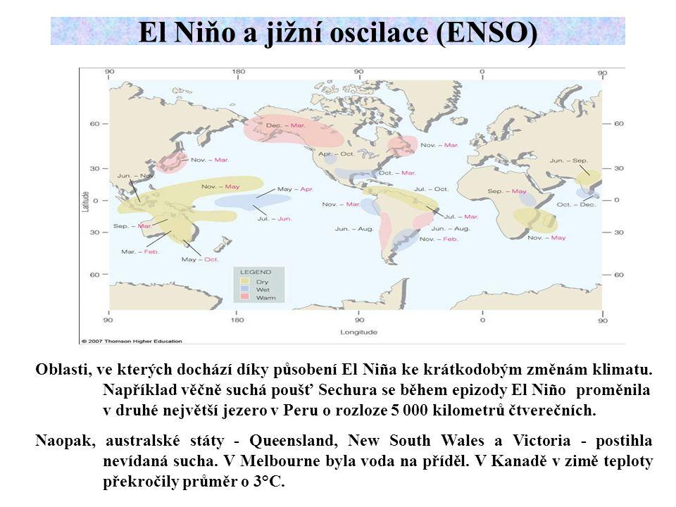 Oblasti, ve kterých dochází díky působení El Niña ke krátkodobým změnám klimatu.