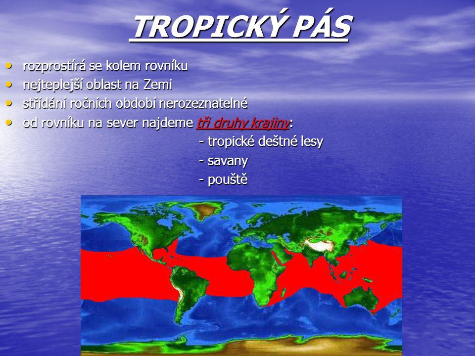 TROPICKÝ PÁS rozprostírá se kolem rovníku rozprostírá se kolem rovníku nejteplejší oblast na Zemi nejteplejší oblast na Zemi střídání ročních období n