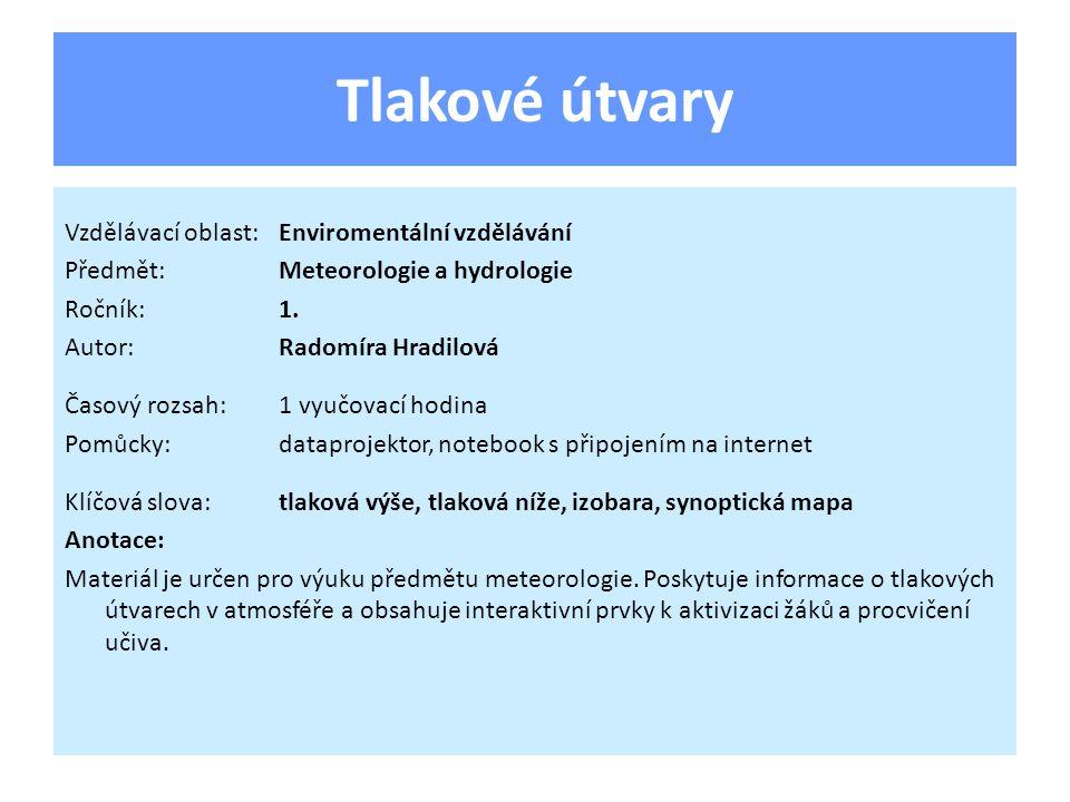 Tlakové útvary Vzdělávací oblast:Enviromentální vzdělávání Předmět:Meteorologie a hydrologie Ročník:1.