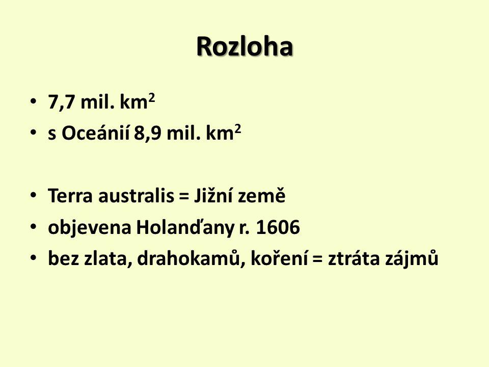 Rozloha 7,7 mil.km 2 s Oceánií 8,9 mil. km 2 Terra australis = Jižní země objevena Holanďany r.