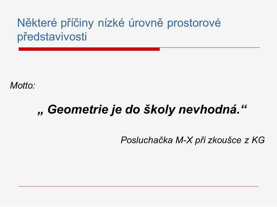 """Některé příčiny nízké úrovně prostorové představivosti Motto: """" Geometrie je do školy nevhodná."""" Posluchačka M-X při zkoušce z KG"""