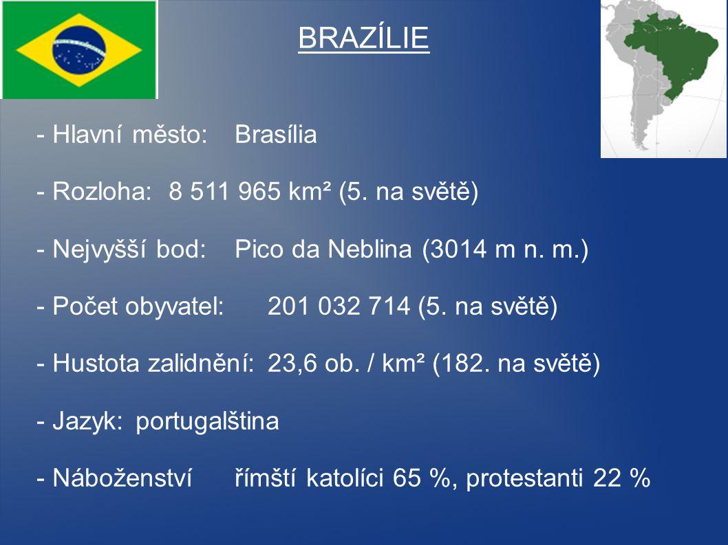 BRAZÍLIE - Hlavní město: Brasília - Rozloha: 8 511 965 km² (5. na světě) - Nejvyšší bod: Pico da Neblina (3014 m n. m.) - Počet obyvatel: 201 032 714