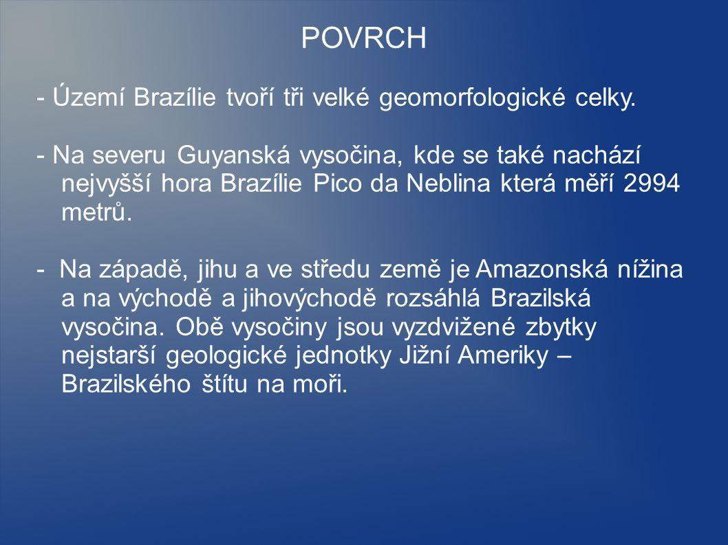 POVRCH - Území Brazílie tvoří tři velké geomorfologické celky. - Na severu Guyanská vysočina, kde se také nachází nejvyšší hora Brazílie Pico da Nebli