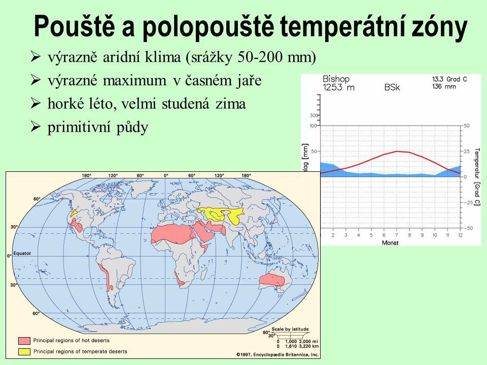 Pouště a polopouště temperátní zóny  výrazně aridní klima (srážky 50-200 mm)  výrazné maximum v časném jaře  horké léto, velmi studená zima  primi