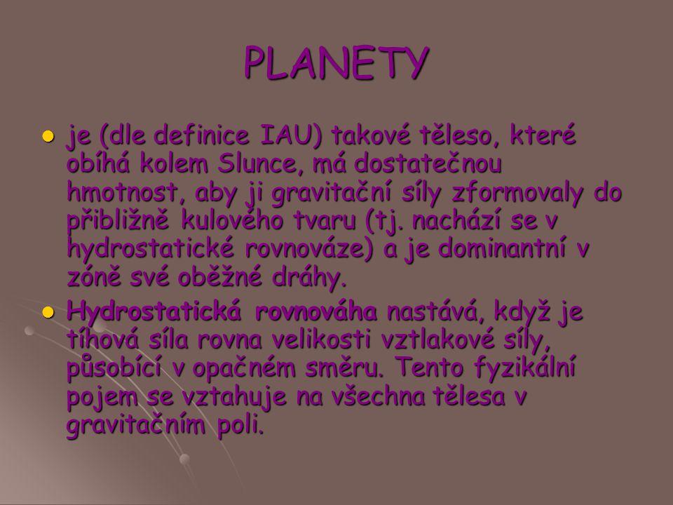PLANETY je (dle definice IAU) takové těleso, které obíhá kolem Slunce, má dostatečnou hmotnost, aby ji gravitační síly zformovaly do přibližně kulovéh