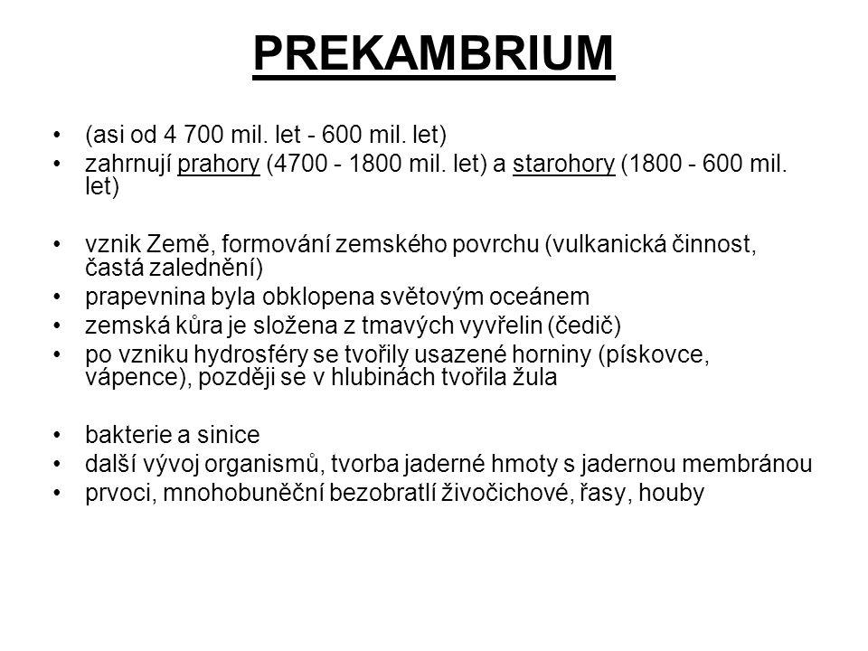 PREKAMBRIUM (asi od 4 700 mil. let - 600 mil. let) zahrnují prahory (4700 - 1800 mil. let) a starohory (1800 - 600 mil. let) vznik Země, formování zem
