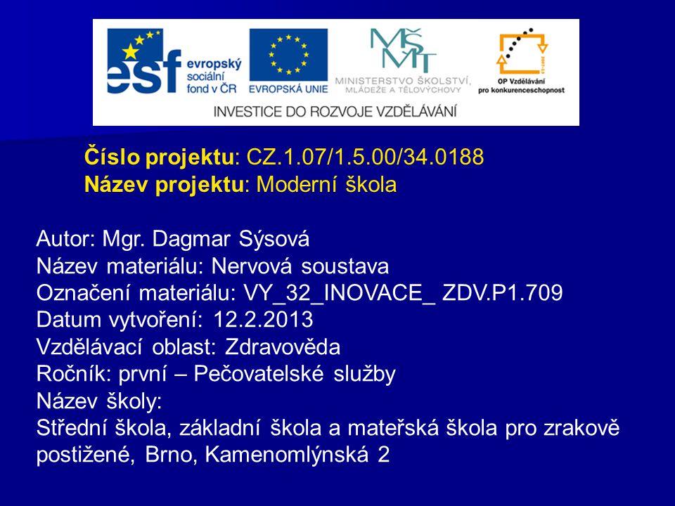 Číslo projektu: CZ.1.07/1.5.00/34.0188 Název projektu: Moderní škola Autor: Mgr. Dagmar Sýsová Název materiálu: Nervová soustava Označení materiálu: V
