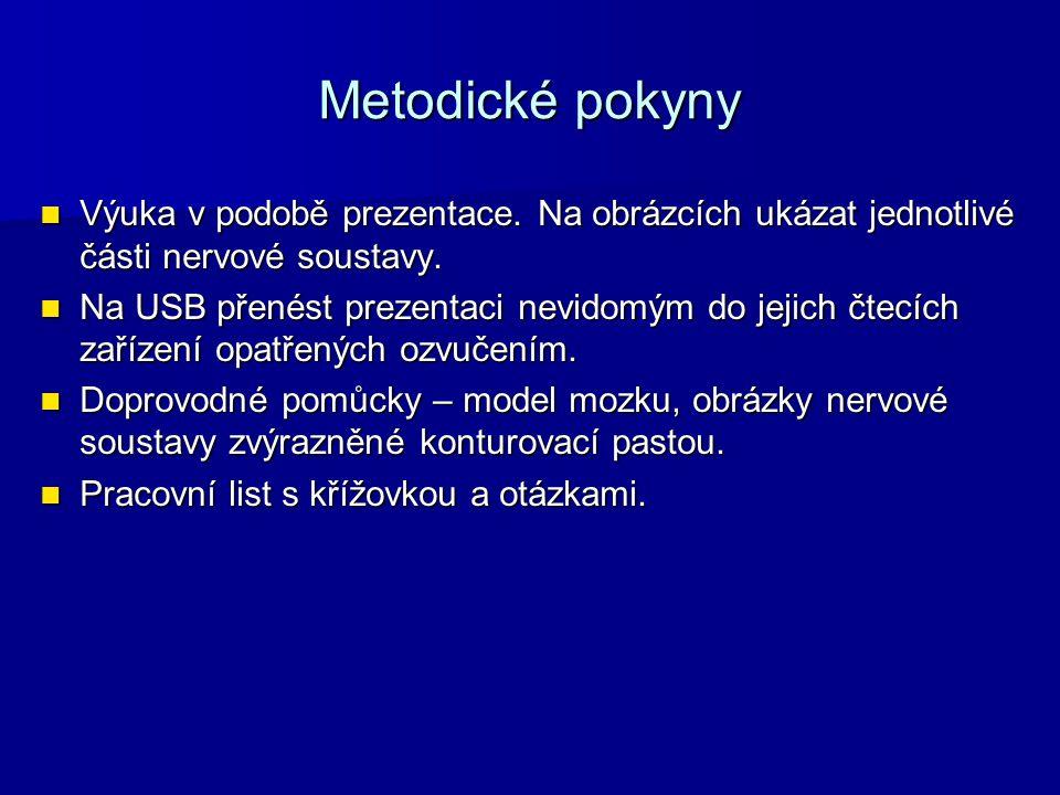 Metodické pokyny Výuka v podobě prezentace. Na obrázcích ukázat jednotlivé části nervové soustavy. Výuka v podobě prezentace. Na obrázcích ukázat jedn