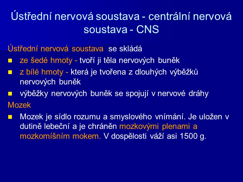 Ústřední nervová soustava - centrální nervová soustava - CNS Ústřední nervová soustava se skládá ze šedé hmoty - tvoří ji těla nervových buněk z bílé