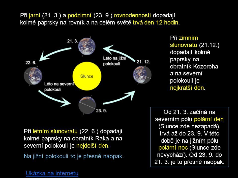 Při jarní (21. 3.) a podzimní (23. 9.) rovnodennosti dopadají kolmé paprsky na rovník a na celém světě trvá den 12 hodin. Při zimním slunovratu (21.12