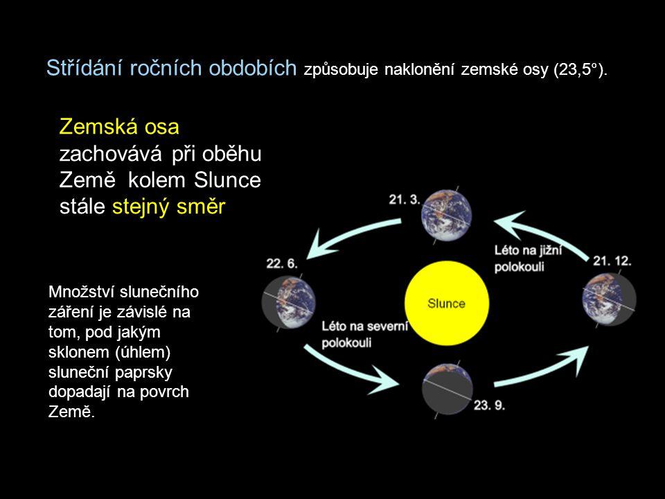 Střídání ročních obdobích způsobuje naklonění zemské osy (23,5°). Zemská osa zachovává při oběhu Země kolem Slunce stále stejný směr Množství sluneční