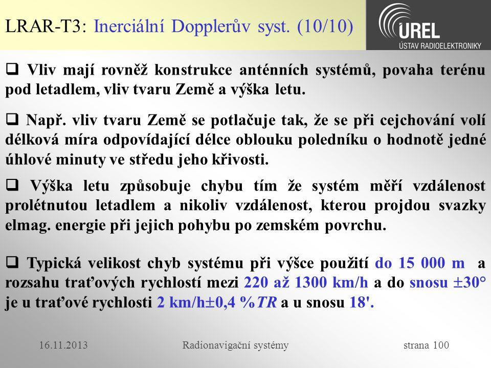 16.11.2013Radionavigační systémy strana 100 LRAR-T3: Inerciální Dopplerův syst. (10/10)  Vliv mají rovněž konstrukce anténních systémů, povaha terénu