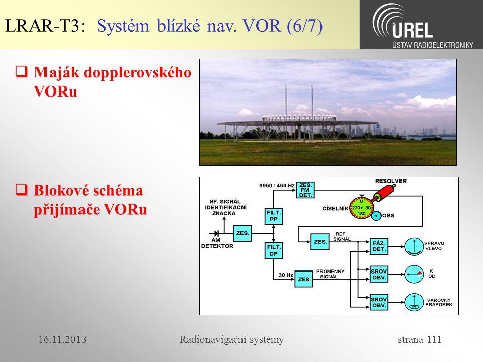 16.11.2013Radionavigační systémy strana 111 LRAR-T3: Systém blízké nav. VOR (6/7)  Maják dopplerovského VORu  Blokové schéma přijímače VORu