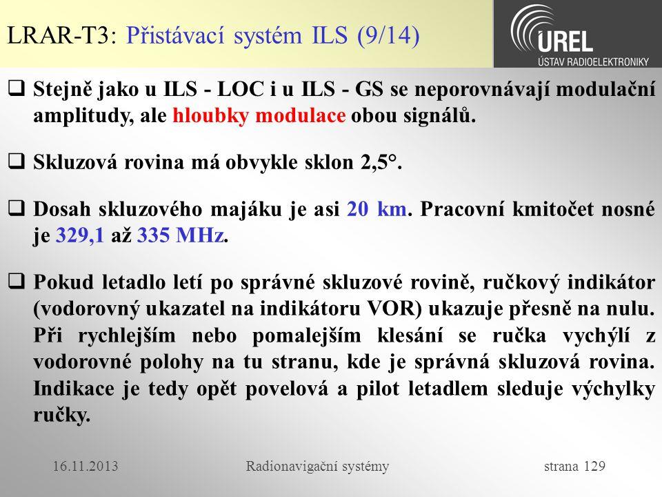 16.11.2013Radionavigační systémy strana 129  Stejně jako u ILS - LOC i u ILS - GS se neporovnávají modulační amplitudy, ale hloubky modulace obou sig