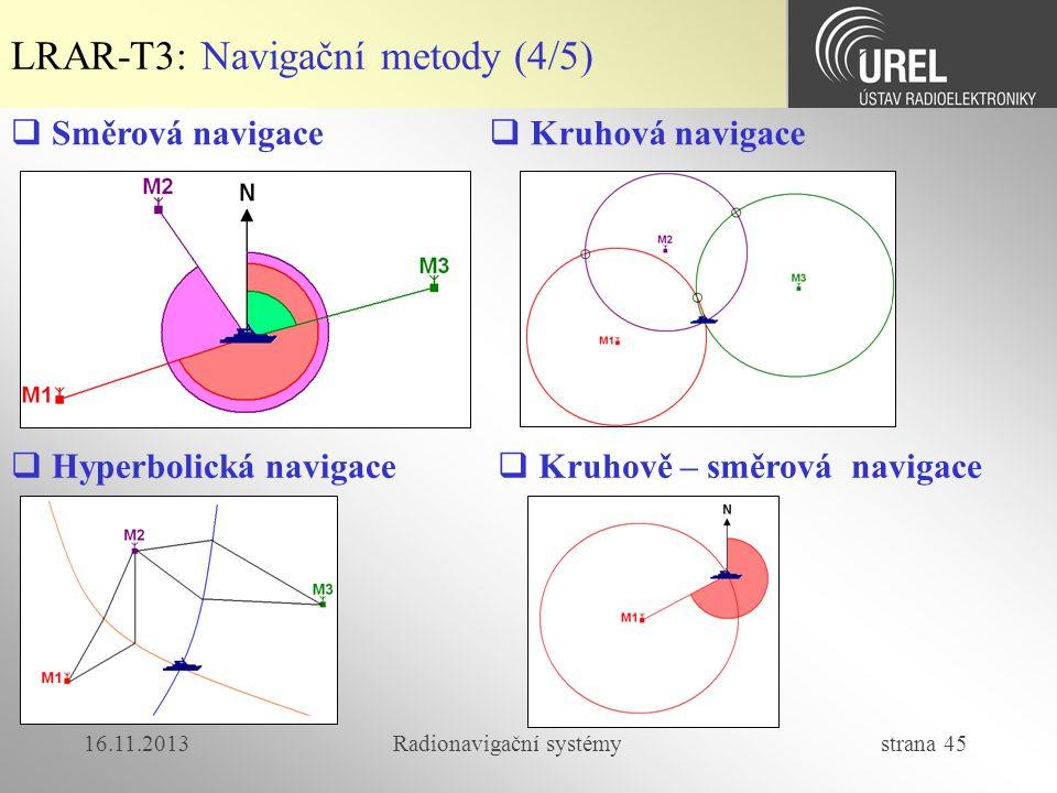 16.11.2013Radionavigační systémy strana 45 LRAR-T3: Navigační metody (4/5)  Směrová navigace  Kruhová navigace  Hyperbolická navigace  Kruhově – s